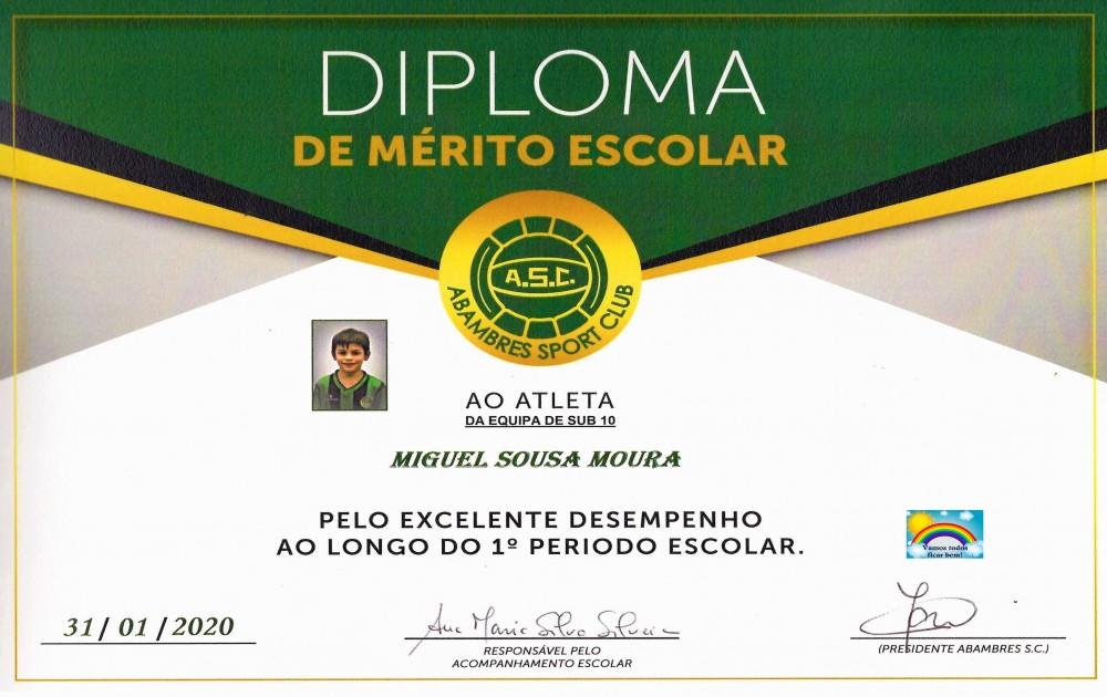 DIPLOMA DE MÉRITO ESCOLAR MIGUEL MOURA | EQUIPA SUB 10