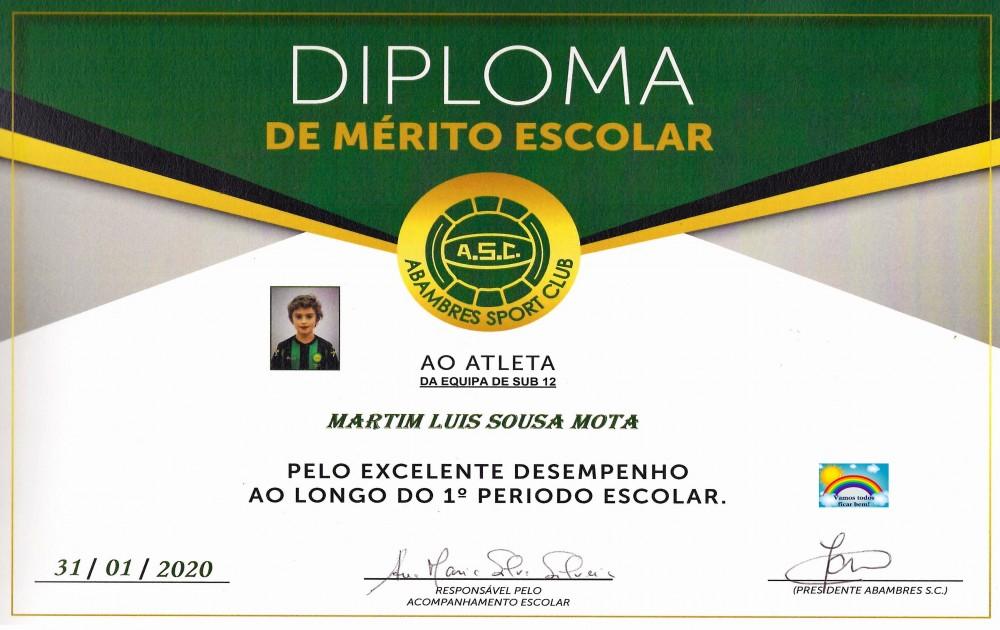 DIPLOMA DE MÉRITO ESCOLAR MARTIM MOTA | EQUIPA SUB 12