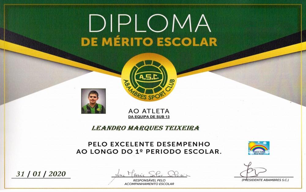 DIPLOMA DE MÉRITO ESCOLAR LEANDRO TEIXEIRA | EQUIPA SUB 13