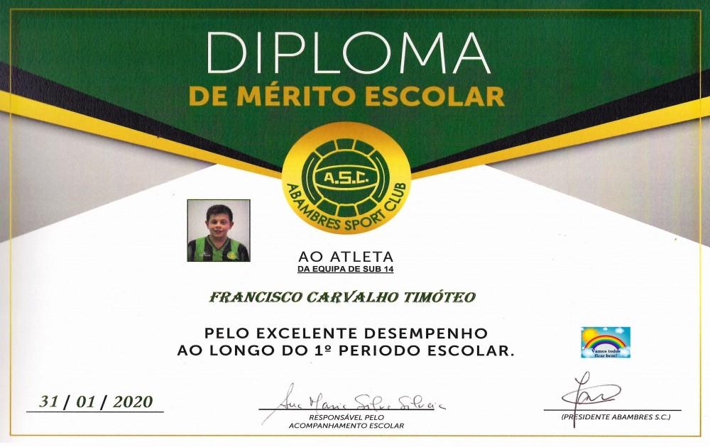 DIPLOMA DE MÉRITO ESCOLAR FRANCISCO TIMÓTEO | EQUIPA SUB 14