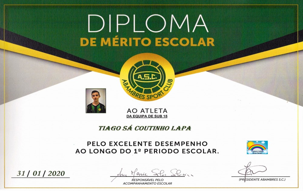 DIPLOMA DE MÉRITO ESCOLAR TIAGO LAPA | EQUIPA SUB 15